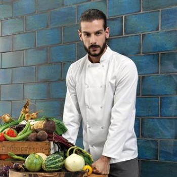 PR665 Premier white studded front long sleeve chef's jacket