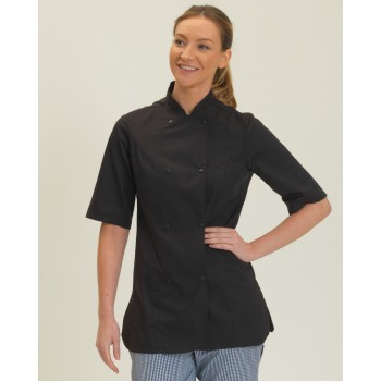 Dennys Ladies' Short Sleeve Chef's Jacket in Black