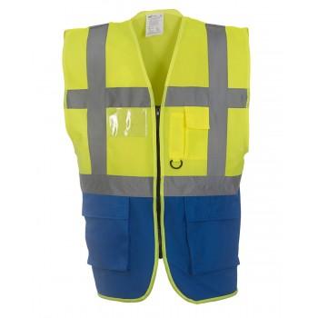 Hi-Vis Executive Waistcoat in Hi-Vis Yellow / Royal