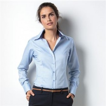 KK789 Women's contrast premium Oxford shirt long sleeve