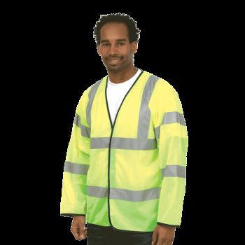 HI-VIS LONG SLEEVE SAFETY WAIST COAT