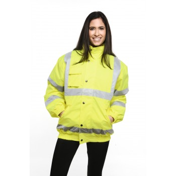 HIGH VISIBILITY BOMBER JACKET in Yellow Embroidered or Printed