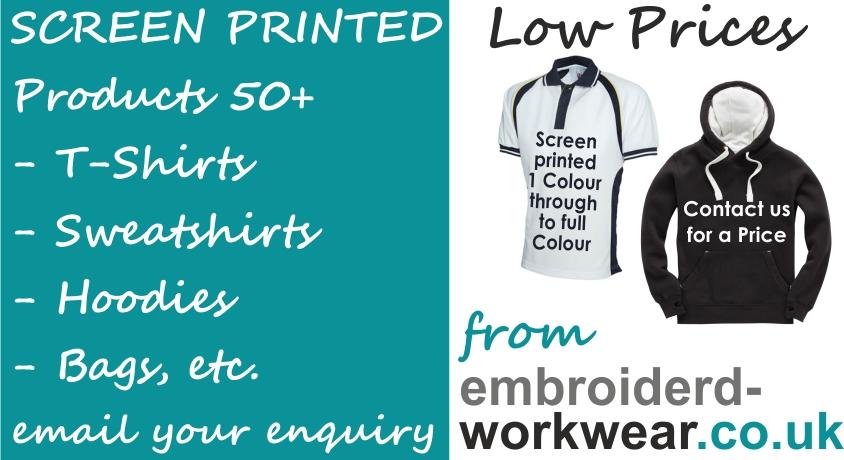 Screen Printed T-Shirts, Sweatshirts, Hoodies, Hi-Vis, Bags